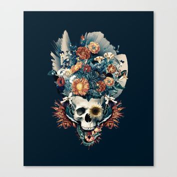 Skull and Flowers Canvas Print by RIZA PEKER