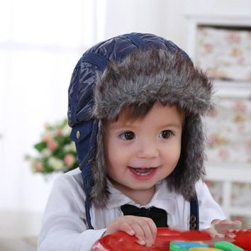 Children's Winter Hat For The Boy Baby Winter Aviator's Helmet Faux Fur Fleece Blue Thick Winter Hat Snow Warm Kids Boy Caps