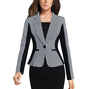 HOUNDSTOOTH FITTED BLAZER