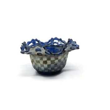 Fenton Glass Blue Carnival Open Edge Basketweave w Blackberry Interior Nut Bowl
