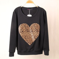 Leopard Cute Heart Shape Print Women Casual Shirt Sweatshirt Top Blouse T-Shirt _ 1833