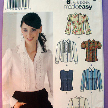Women's 6 Blouses Made Easy Misses' Size 12, 14, 16, 18, 20 Simplicity 5872 Sewing Pattern Uncut