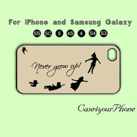 Never grow up, Peter Pan ,iPhone 5 case, iPhone 5C Case, iPhone 5S , Phone case, iPhone 4S , Case,Samsung Galaxy S3, Samsung Galaxy S4