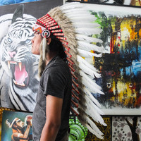 Real White Chief Indian Headdress 90cm, Native American Costume Hand Made Feathers War Bonnet Hat