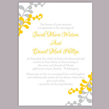DIY Wedding Invitation Template Editable Word File Instant Download Printable Leaf Invitation Elegant Yellow Gold Invitation Gray Invitation