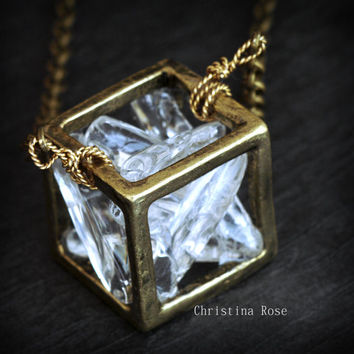 CRYSTAL CUBE NECKLACE - Smooth Shiny White Quartz Distressed Vintage Gold Cube Extra Long Bronze Chain