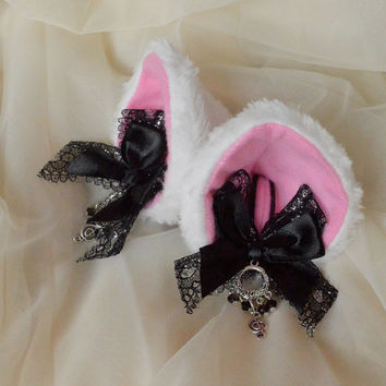 Kitten play clip on cat ears with lace and ribbon bows - neko lolita cosplay costume - kitten play accessories gear - black and white