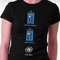8 Bit Tardis T-shirt - 100% Cotton. Mens, womens and kids sizes. This Doctor Who 8-bit Tardis shirt comes in back and navy.