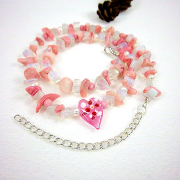 Mothers Day Necklace Coral Necklace Pearl Necklace Gemstone Necklace Glass Heart Necklace Kawaii Fantasy Jewelry