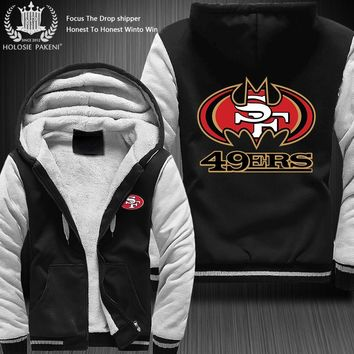 Dropshipping USA Size 49ERS SF fans Zipper Sweatshirt Jacket Fleece Thicken Custom Jacket Coat Hoodies 8 colors Costume made