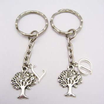Tree Keychain Set Tree Of Life Keychains Best Friends Personalized Gifts Couples Set Mother Daughter Keychains Nature Lovers Gifts Initial