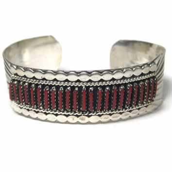 Vintage Navajo Needlepoint Coral Cuff Bracelet 6.5 Inches