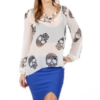 White/Black Floral Skull Top