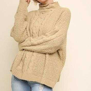 Mock Neck Cable Knit Pullover Sweater - Latte