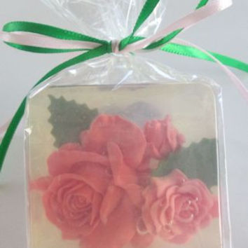 Large Rose Glycerin Soaps 2.5 x 2.5 x 1.15