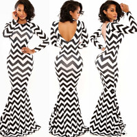 Wave Stripes Print Long Sleeve Backless Bodycon Maxi Fishtail Dress