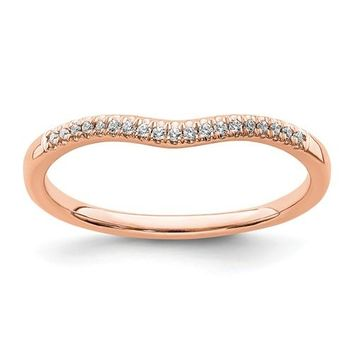 14k Gold Diamond Contoured Wedding Band - White, Yellow or Rose Gold