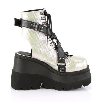 Green/Black Vegan Leather Open Back Platform Boots