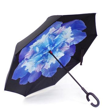Ceiourich Large Long Handle Advertising Reverse Umbrella Reverse Bone Car Umbrella Rain Dual-use Customized Logo Umbrella-001