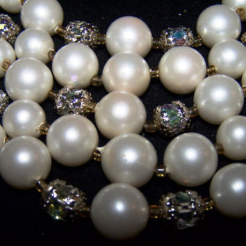 25% OFF crystal beaded and faux pearls 5 strand necklace Japan