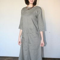 Linen sage green dress Pale green Midi dress Modern minimalist dress 70 s (S/M)