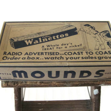 Peter Paul Mounds Candy Bar Box 1950s Collins Walnettos