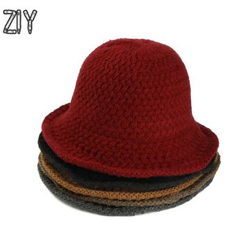 winter knitted women warm hat elegant solid wool foldable brand bucket hat harajuku kpop korean vintage wide brim hat for a girl