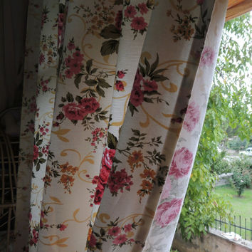 Shabby Chic Rose Curtain Floral Cottage Chic Curtains  Window Curtains Drapes Home Decor Pair Of Panel  Curtain