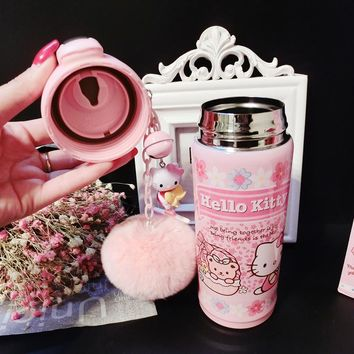 JOUDOO Kawaii Hello Kitty Thermos Cup 500ML Stainless Steel Thermal Bottle Fur Pendent Birthday Christmas Gift for Kids