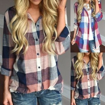 Women Casual Matching Color Long Sleeve Button Loose Plaid Shirt Blouse Top