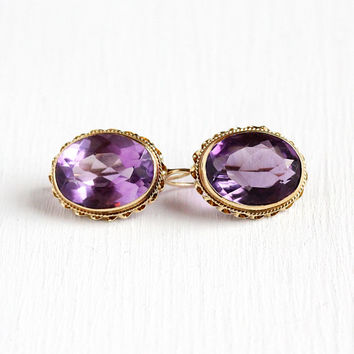 Genuine Amethyst Earrings - Vintage 14k Yellow Gold Pierced Dangle Purple Gem Drops - Art Deco 16.68 CTW February Birthstone Fine Jewelry