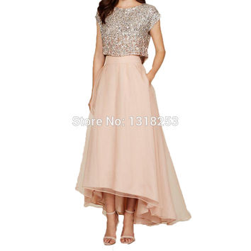 Bling Sequin Top Hi-Lo Skirt Two Pieces Bridesmaid Dresses Plus Size Maid of Honor Wedding Guests 2 Piece Set High Low Prom Gown