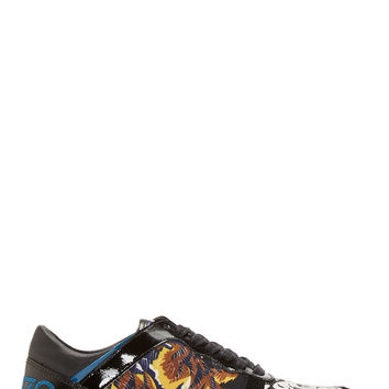 Kenzo Black Leather And Suede Tiger Print Sneakers