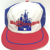 1970's Vintage Mesh Trucker Snapback Blue White and Red Hat/Cap with the Walt Disney World Logo and Castle in Blue