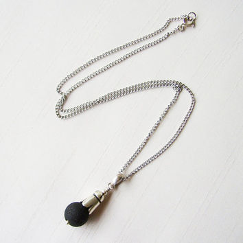 Sterling Silver and Lava Rock Stone Pendant, silver plated chain - Delicate Necklace - Black and Silver Pendant