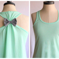 Bow Mint Tank Top  XLARGE  Limited Edition by personTen on Etsy