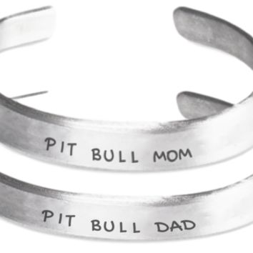 Pit Bull Mom And Dad Bracelet Set