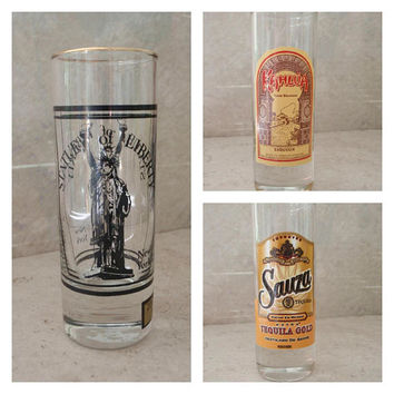 Shot Glass Collection Cities Travel Alcohol Double Tall Barware Vintage