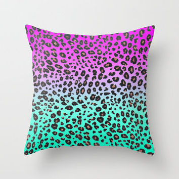 TEAL & PINK LEOPARD  Throw Pillow by nataliesales | Society6