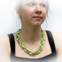 Jade, Aventurin, Chrysoprase and quartz - spring green necklace