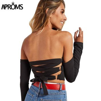 Aproms Sexy Back Criss Cross Crop Top Elegant Off Shoulder Lace Up Tank Top Women Short T-shirt Casual 90s Cool Girls Camis Tops
