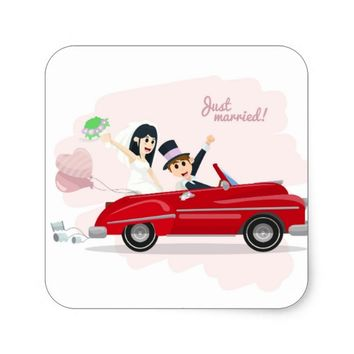 Just Married Square Sticker