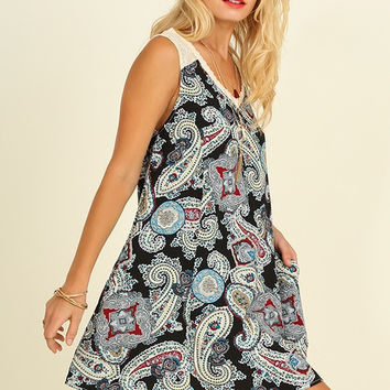 The Livin' is Easy Paisley Dress - Black Mix