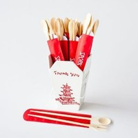 "Set of 6 ""Spork Chops"" Chopsticks with Fork and Spoon in a Paper Sleeve, 10"" Long, Kitchen Accessories"