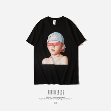 2018 New Funny Home Alone Printing Tee Shirt Fashion Casual 100% Cotton Wanted Letter Top Tees Streetwear Kanye west Men T Shirt