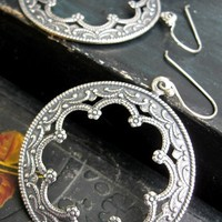 Gypsy Bohemian Boho Chic Silver Hoop earrings / Bohemian Jewelry