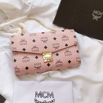 MCM Fashion Women Shopping Bag Leather Metal Chain Shoulder Bag Crossbody Satchel Pink I-BCZ(CJZX)