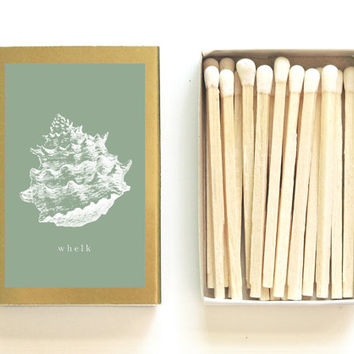 Whelk Shell Matchbox - Nautical Illustration Matches - Beach Wedding Favor - Sage Green and Gold - Beachcombing - Light a Nautical Spark