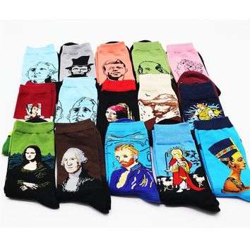 New cotton interesting personality world famous painting pattern men in the tube socks high quality combed cotton socks 1 pairs
