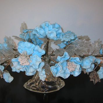 Venetian Glass Centerpiece Blue Flowers Arrangement Clear Petals
